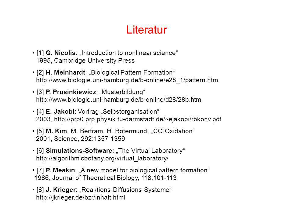 "Literatur [1] G. Nicolis: ""Introduction to nonlinear science 1995, Cambridge University Press."